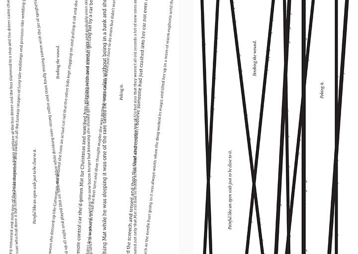 THE MOST DRASTIC CHANGE CAME WHEN TEXT HAD TO BE BLACK OUT COMPLETELY SINCE IT OVERLAPPED AND CUT OFF. WHILE IT DOESN'T CHANGE THE OUTCOME OF THE STORY, IF YOU WERE TO READ THE RIBBONS OF TEXT, YOU'D GAIN SOME INSIGHT INTO THE HISTORY OR MAT AND JULIA'S RELATIONSHIP, AS WELL AS HER PAST